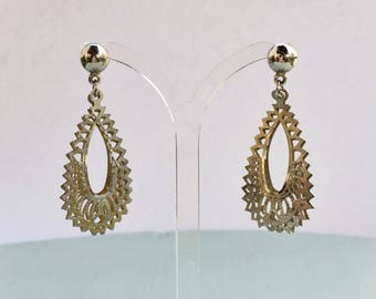 Vintage Silver Toned Cut-Work Dangle and Drop Earrings