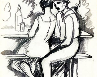 Couple at the bar, framed reproduction illustration of Paul Jacob Hians
