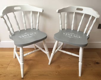 Pair of Vintage Chairs - Hand Painted - Farrow & Ball - Farmhouse - Country