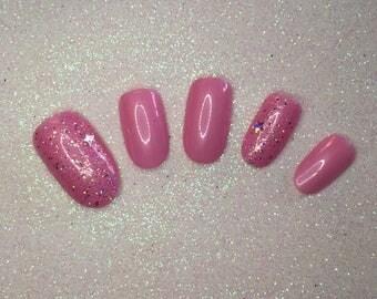 READY TO SHIP * Pink & Glitter Press On Nails * Fake Nails * False Nails