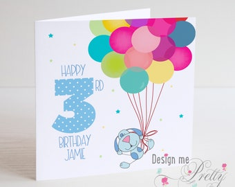 Balloon Children's Birthday Card with number and personalisation