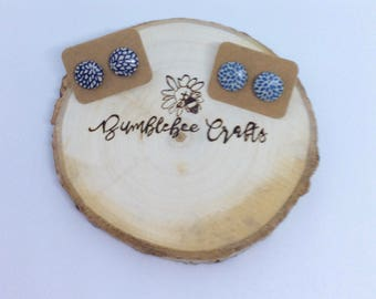 Round Fabric Covered Button Earrings - blue floral