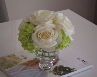 Artificial Flowers Centrepiece - Faux Silk Flowers in Glass Vase - Silk Floral Arrangement