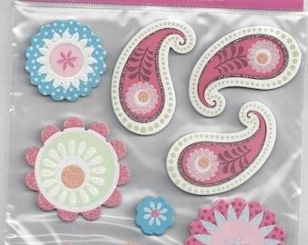 MAMBI ~ Pink Flower Chipboard Stickers ~ NIP