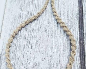 Gypsy blue rose braided hemp necklace