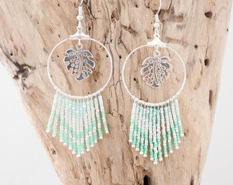Chic bohemian hoop earrings silver seed beads Miyuki Mint green, Aqua green and silver plated with philodendron leaves
