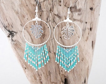 Chic bohemian hoop earrings in turquoise and plated Miyuki seed beads silver leaf charms