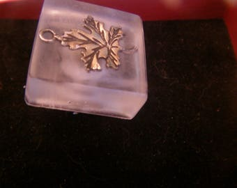 leaf resin inclusion charm ring