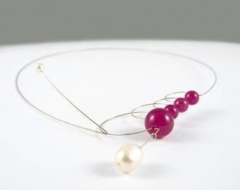 Handmade jewelry, Stone necklace, Pearls jewelry, Stone jewelry, Silver necklace, Magenta necklace, Minimalist necklace, Italian jewelry