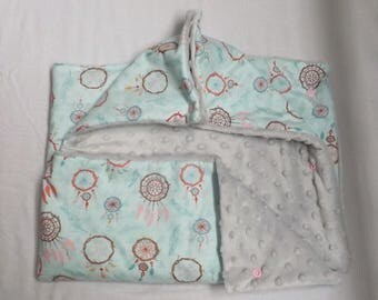 Bunting printed cotton and lined with minkee gray 0-6 months.