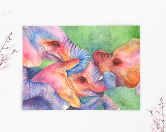 Baby Elephants at Play 5X7 Fine Art Watercolor Greeting  Card