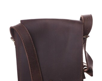 Crazy Horse Leather bag - Waxed Leather Handmade Handbag - Waist Bag Crazy Horse Leather Bag - Brown Handbag - Shoulder Bag - Leather bag