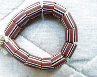 TRADE BEADS Antique Venetian Brick Red Striped Glass Beads