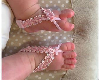 Pink Baby Barefoot Sandals/ Baby Sandals/Baby Girl/Barefoot Sandals/Artsy Feet