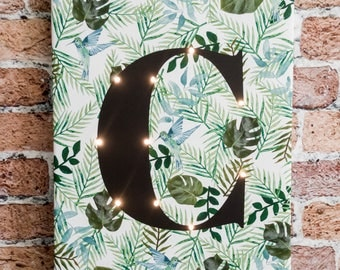 Tropical Letter lights, Monstera, Light up letters, Nordic design, Marquee letter, Led, A B C D E F G H I J K L N O P Q R S T U V W X Y Z &