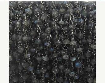 50% off Beautiful Labradorite Beaded Chain 3mm-3.5 mm Rosary Chain, Labradorite Beaded Black Wire Wrapped Chain CH-101