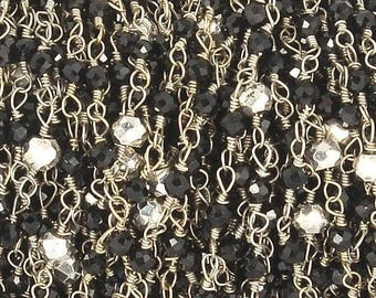 50% off 5 Feet Black Spinel & Silver Pyrite Beaded Chain 3-3.5mm Rosary Chain, 925 Silver Plated Wire Wrapped Chain CH160
