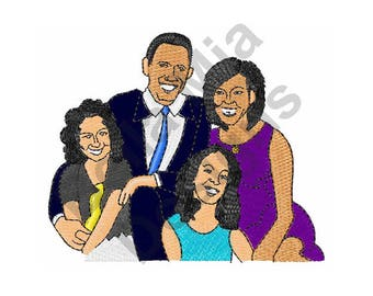 Obama Family - Machine Embroidery Design