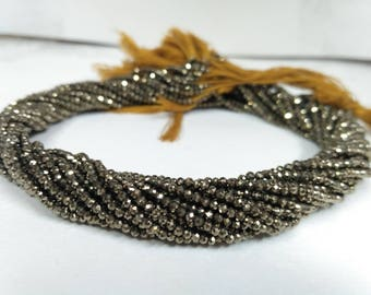 AAA Natural Pyrite Faceted Rondelle Beads 2-2.5mm# Golden Micro Bead, Golden Pyrite Micro Faceted Bead, Pyrite, Wholesale Gemstone strands