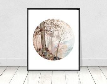 Watercolor Fall Tree Silouette Printable Landscape Painting Art Print- Original Digital Print- Fall Home Decor- Wall Art 8X10 to 18X24 Print
