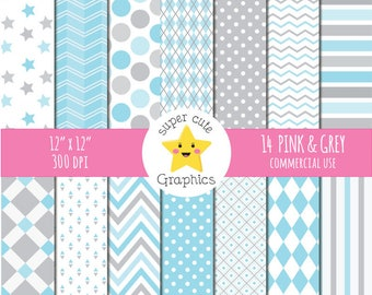 50% SALE Blue & gray digital paper, commercial use, paper pack, digital paper, gray/blue paper, scrapbook paper, instant download