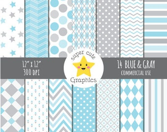 Blue & gray digital paper, commercial use, paper pack, digital paper, gray/blue paper, scrapbook paper, instant download