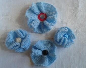 set of 4 flowers crochet craft supplies