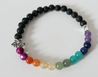 Custom Chakra Natural Semi-precious Stone - Diffuser Bracelet - Stretch - Lava Stone - Young Living - DoTerra - Essential Oils