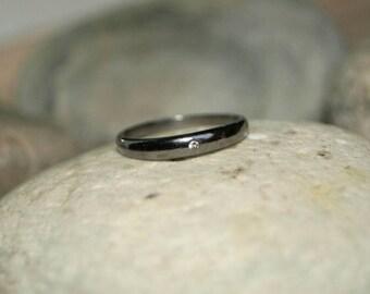 Bohemian style single diamond pave diamond sterling silver eternity band stack ring