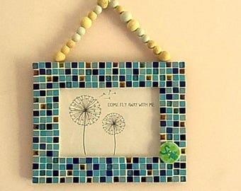 Photo frame natural, blue pastel picture frame photo frame, mosaic picture frame