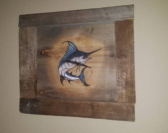 Wooden Picture of a Marlin