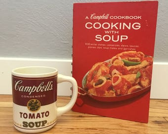 "Vintage Campbells Mug and ""Cooking With Soup"" Cookbook"