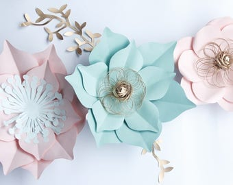 nursery set of 3 paper flowers, nursery decor, flower backdrop