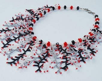 Red White and Black Beaded Fringe Necklace - Coral Fringe Necklace