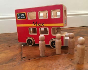 One year gift etsy personalised wooden bus wooden bus and figures personalised wooden toy red bus negle Gallery