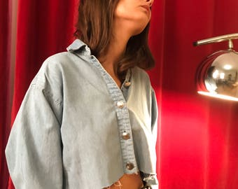 Cropped western chambray shirt S/M