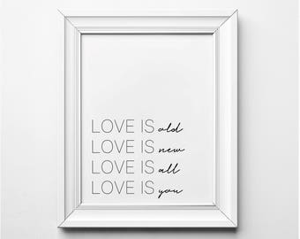 Love is Old, Love is New Song Lyrics Wall Art, The Beatles Art Print, Song Lyrics Print, Beatles Song Lyrics Art Print, Printable