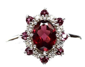 Ring in 925 silver plated gold pink Rhodolite Garnet and Zirconium