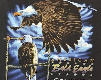 Vintage 90s Colorado Bald Eagle Biker T Shirt 1997 Size XL Harley Davidson