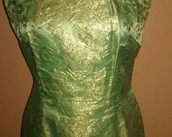 Green and gold dress.