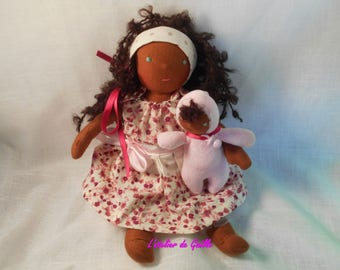Dounia (32 cm) and her baby, Waldorf dolls, unique creations