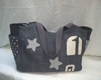 "Jean fabric label, ""Trapezium"" handbag"