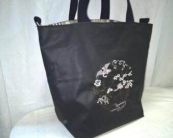 Hand embroidered, coated canvas, shoulder bag purse