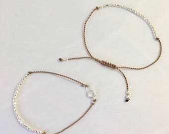 Minimalist-delicate sterling silver faceted bead bracelet with clasp or adjustable macrame closure