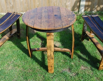 Barrel stave patio table & two barrel stave benches