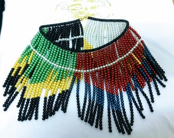 African statement handmade necklace -SA flag