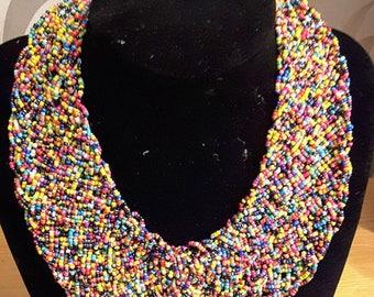 African fashion necklace mult-icolor bead bib