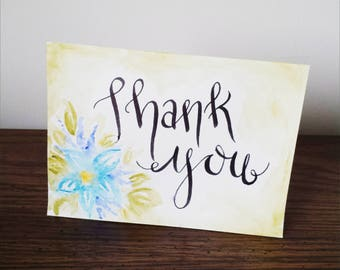 """Original Watercolor Greeting Card, Blank Inside, Hand Made, 4x6, """"Thank You"""""""