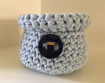 Recycled cotton - crocheted basket