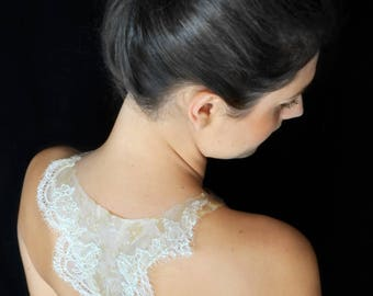"The collection ""White lace"" backless"
